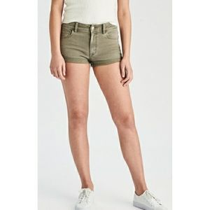 American Eagle Army Green High Rise Shortie Shorts